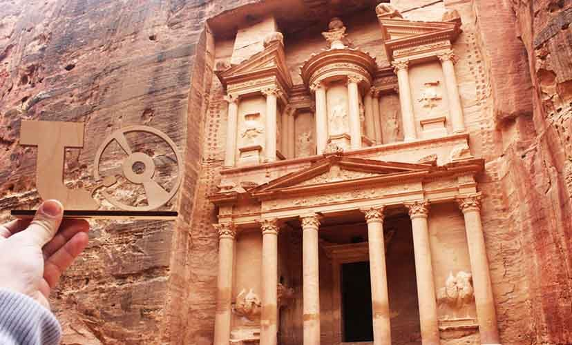 TakeTones in front of the Al-Khazneh in Petra, Jordan