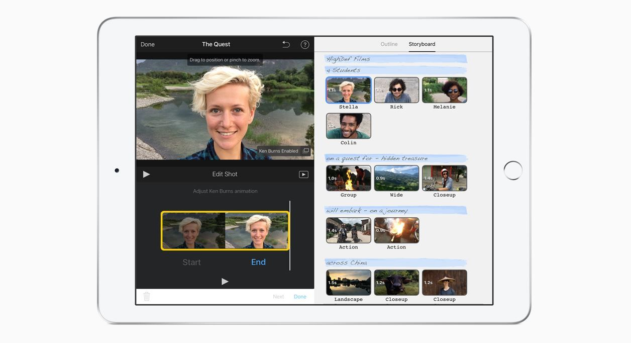 iMovie interface