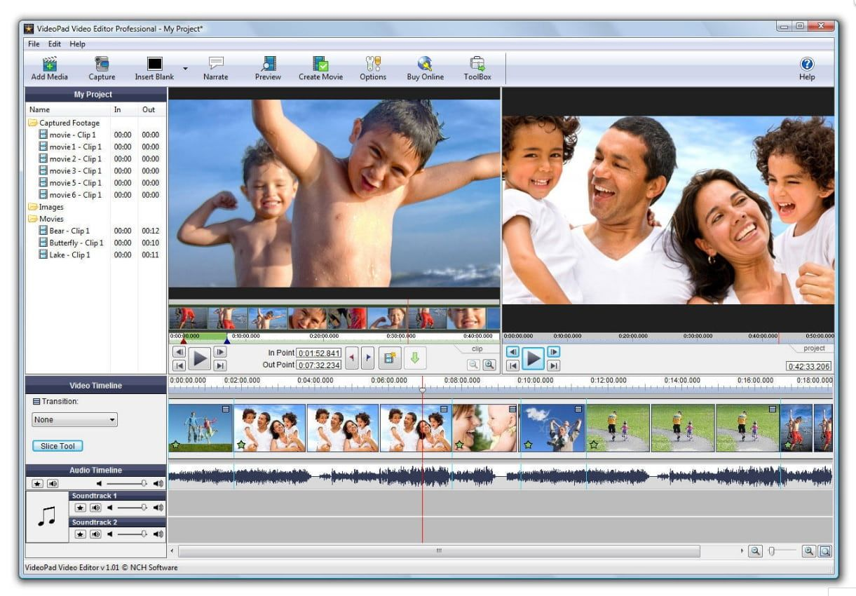 VideoPad interface