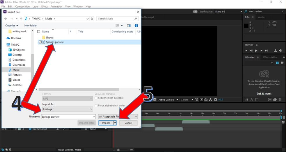 How to choose and add music to a video in Adobe After
