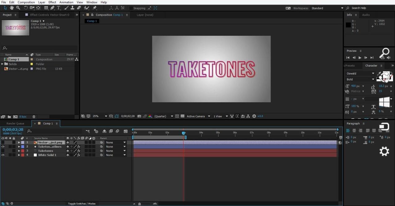 Text layer in After Effects