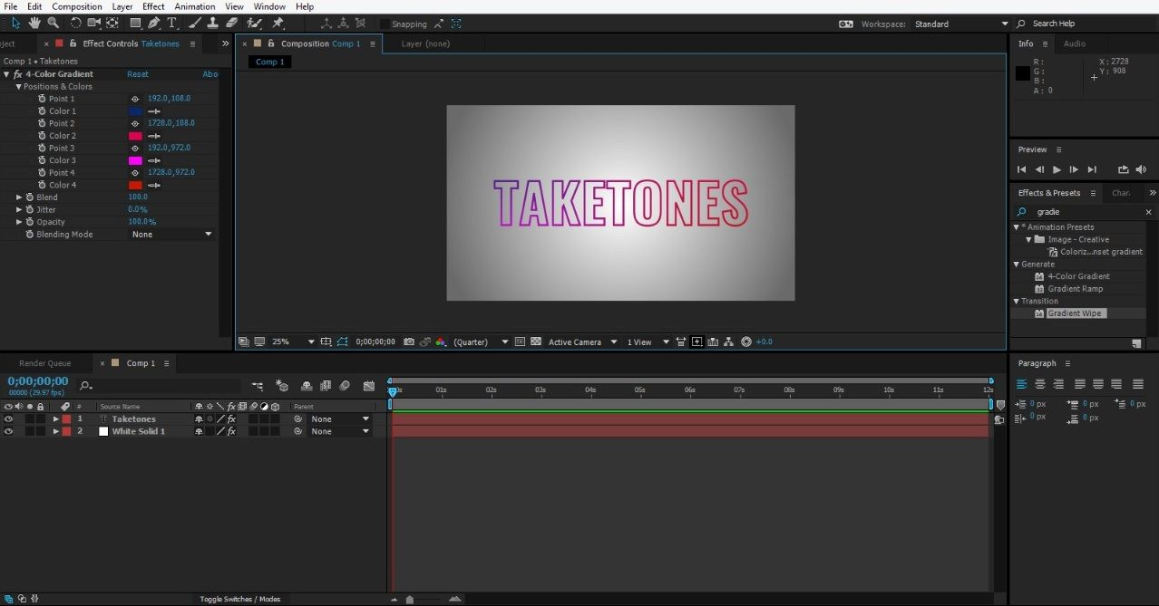 Animating the text in After Effects