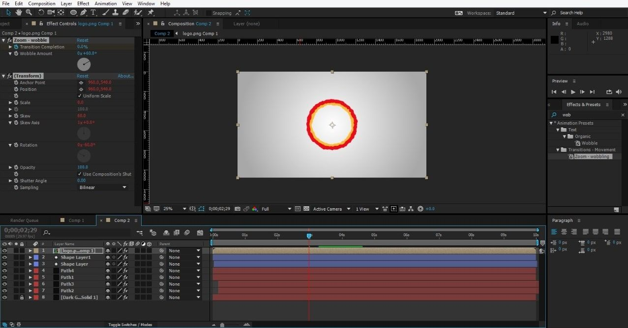 Set dimension for the logo in After Effects