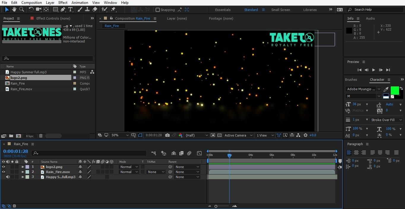 Adding a watermark in AE_Step 2