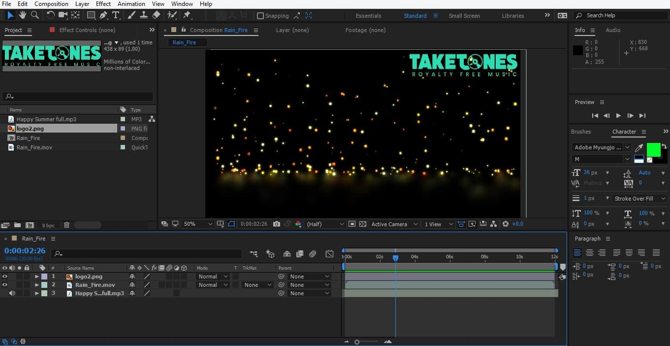 Adding a watermark in AE_Step 3